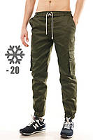 Зимние молодежные утепленные штаны оливкового цвета - XS, S, M, XL