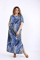 / Размер 42-74 / Женское летнее легкое голубое платье макси / 01190
