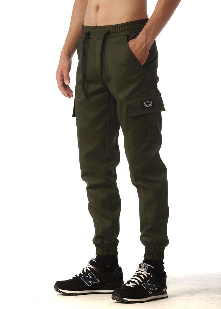 Оливковые мужские штаны Active (Эктив) весна-лето 100% хлопок