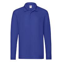 Мужская футболка поло с длинным рукавом хлопковая ярко-синяя