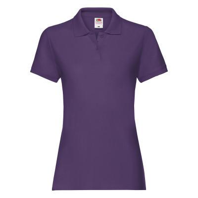Стильная женская футболка поло фиолетового цвета из хлопка