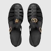 Gucci Rubber Buckle Strap Sandal Black, фото 1