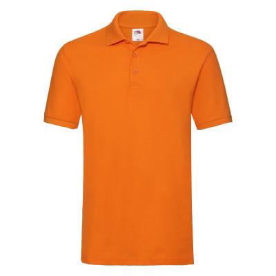 Летняя яркая мужская футболка с воротником оранжевая