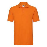 Летняя яркая мужская футболка с воротником оранжевая, фото 1