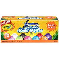 Crayola Набір змиваючих неонових фарб ,10 кольорів Washable Kids Paint, 10 Neon Paint Colors