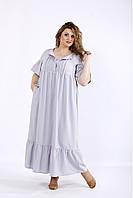/ Размер 42-74 / Женское светло серое летнее длинное платье из льна / 01183