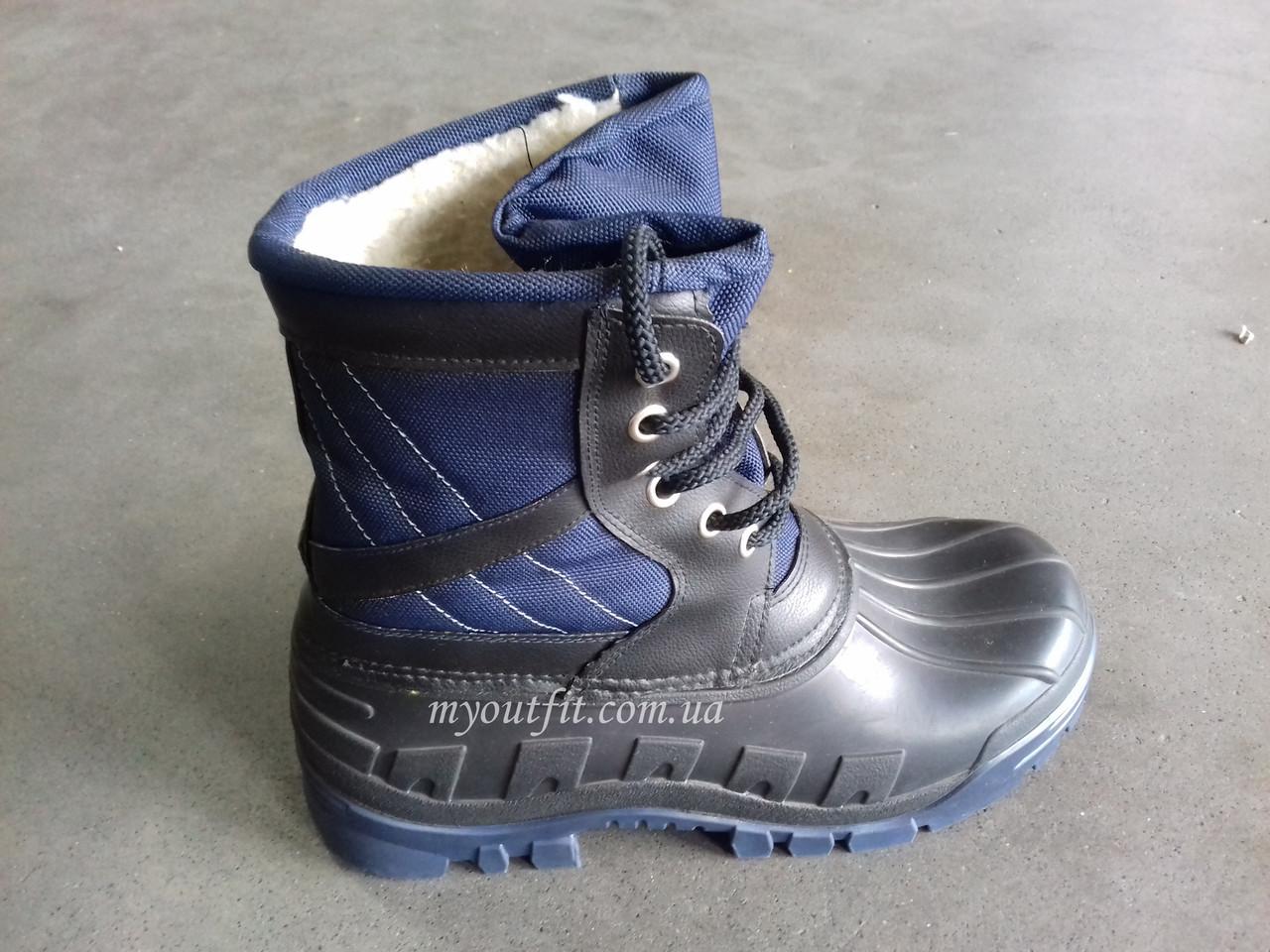 Мужские сапоги для зимней рыбалки Охоты Короткие сноубутсы на шнурках Синие   Размер 41-46  