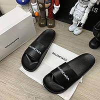 Balenciaga Logo Slide Sandals Black, фото 1