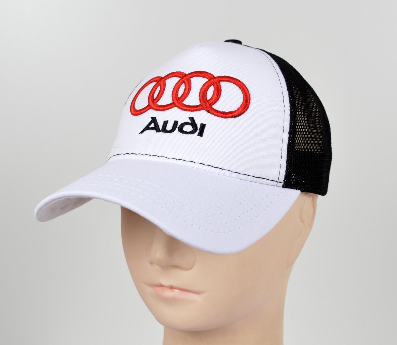 Бейсболка вишивка сітка Audi білий