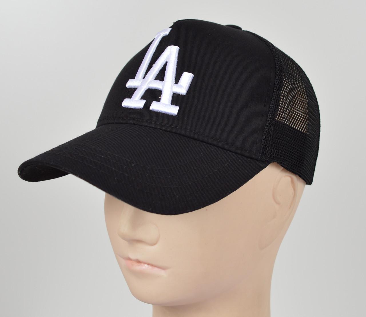 Бейсболка вышивка сетка LA черный