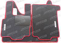 DAF XF 95 МКПП ворсовые коврики (чёрный-красный) ЛЮКС