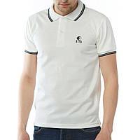 """Стильна чоловіча футболка поло з вишивкою """"Ястребь"""" молочного кольору"""