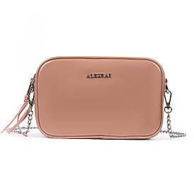 Женская кожаная сумочка-клатч на каждый день пудровая 06-1 8736-3 pink