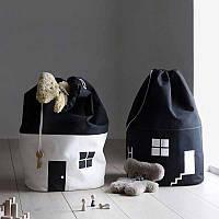 Мешок для игрушек (белья) Домик черно-белый