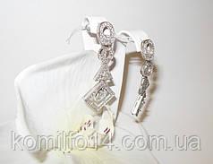 Срібні сережки з фіанітами, фото 2