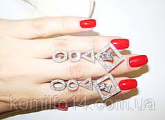 Срібні сережки з фіанітами, фото 3