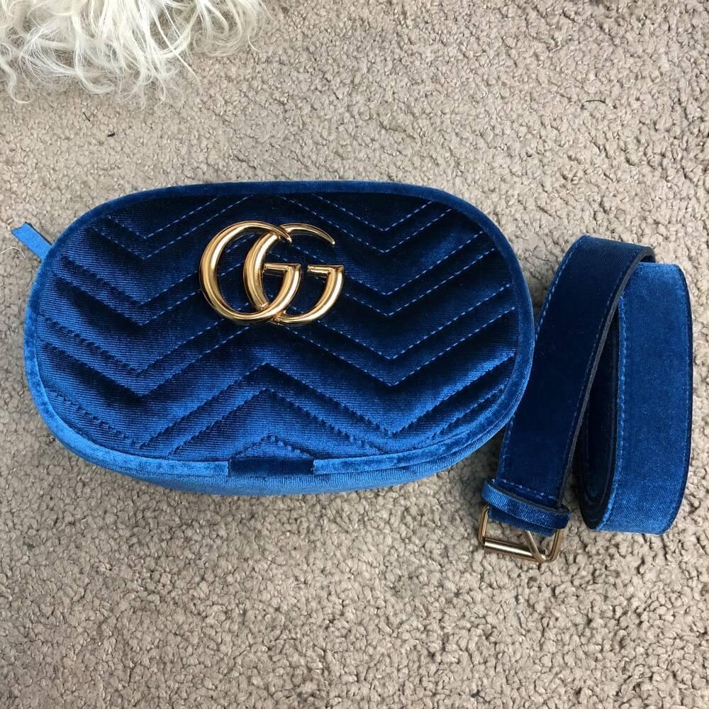 Gucci Belt Bag GG Marmont Cobalt Blue Velvet