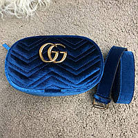 Gucci Belt Bag GG Marmont Cobalt Blue Velvet, фото 1
