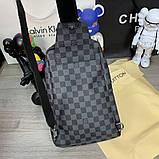 Слинг сумка Louis Vuitton Avenue 19842 серо-черная, фото 5