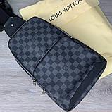 Слинг сумка Louis Vuitton Avenue 19842 серо-черная, фото 6