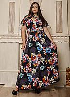 Женское длинное платье на запах. Размеры 50, 52, 54