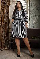 Платье рубашка женское в полоску. Размеры 52, 54, 56, фото 1