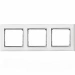 Рамка 3 поста білий / срібло Valena