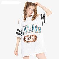 Женское платье туника Lydia с открытыми плечами OAKLAND с пайетками белое, фото 1
