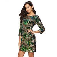 Красивое нарядное женское платье Lydia расшитое пайетками зеленое, фото 1