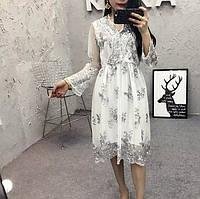 Женское длинное платье Simplee из органзы с пайетками белое, фото 1