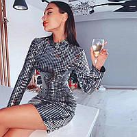 Красивое женское платье Lydia расшитое пластинами серебристое S, фото 1