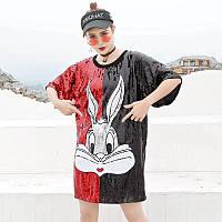 Женское платье туника Lydia Bugs Bunny с пайетками красно-черное, фото 1