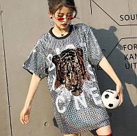 Жіноче плаття туніка Lydia Tiger з паєтками сріблясте, фото 1