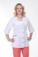 Медицинский женский  костюм с вышивкой и цветными брюками .  Размеры 40 - 58