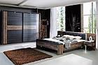 Кровать с прикроватными тумбами BLQL161B-N09 BELLEVUE Forte дуб/черный/благородный, фото 4
