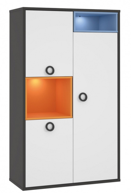 Шкаф LORK521-C174 COLORS Forte серый вольфрам/белый/голубой/оранжевый
