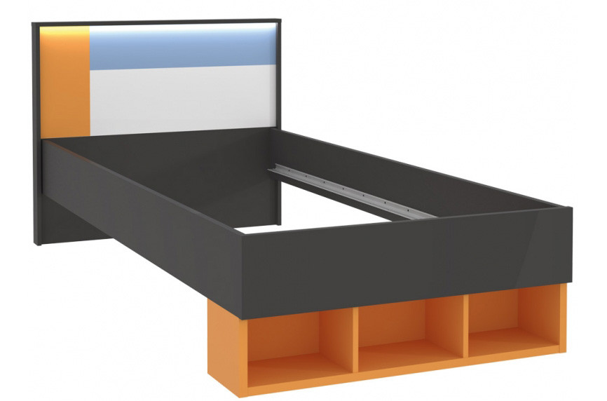 Кровать LORL091-C174 COLORS Forte серый вольфрам/оранжевый/белый/голубой
