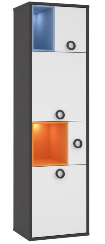 Стеллаж LORR711-C174 COLORS Forte серый вольфрам/белый/оранжевый/голубой
