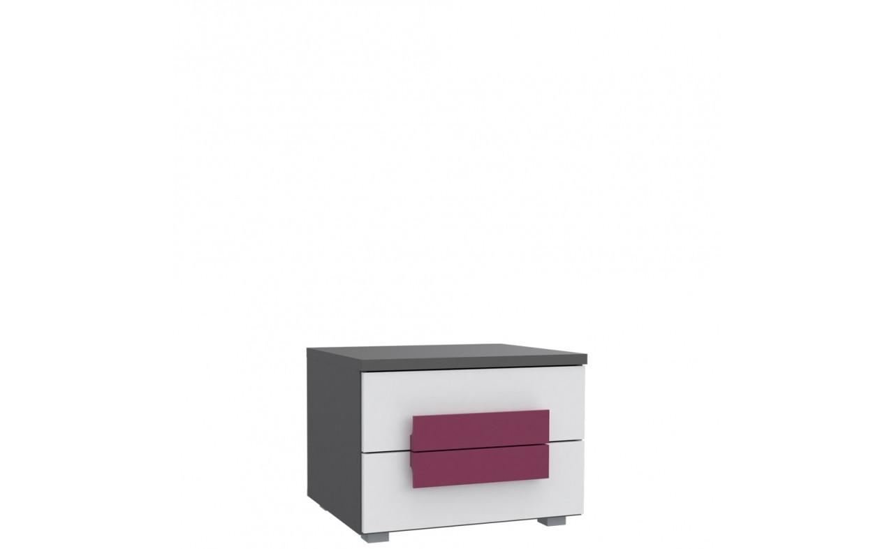 Тумба прикроватная LBLK02-P83 LIBELLE Forte серый матовый/белый/фиолетовый