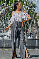 ✔️ Летняя блузка с открытыми плечами 42-48 размера белая с черной полоской, фото 1