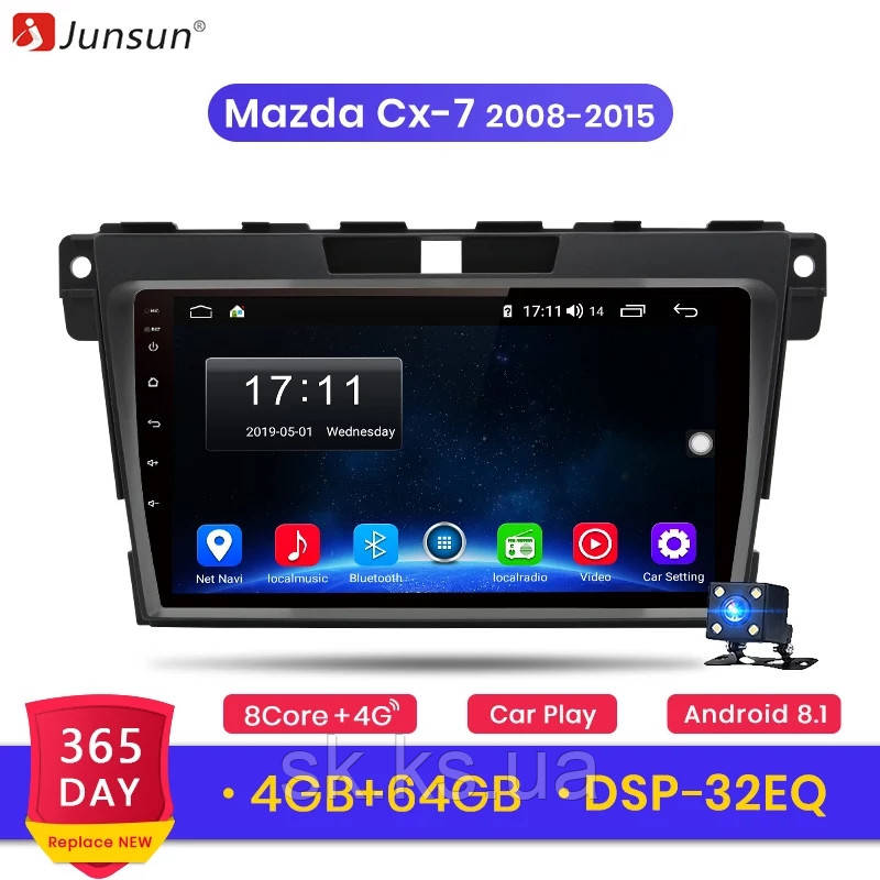 Junsun 4G Android магнитола для mazda cx-7 2008-2015 full 4Gb озу+ 64gb