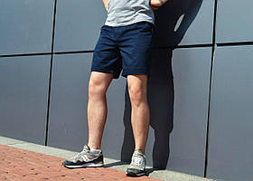 """Модные мужские коттоновые шорты """"Денди"""" темно-синие - размеры M, L"""