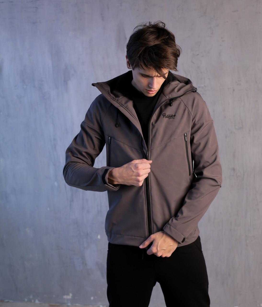Осенне-весенняя мужская не промокаемая куртка Soft Shell (Победов Софт Шел) серого цвета