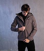 Осенне-весенняя мужская не промокаемая куртка Soft Shell (Победов Софт Шел) серого цвета, фото 1