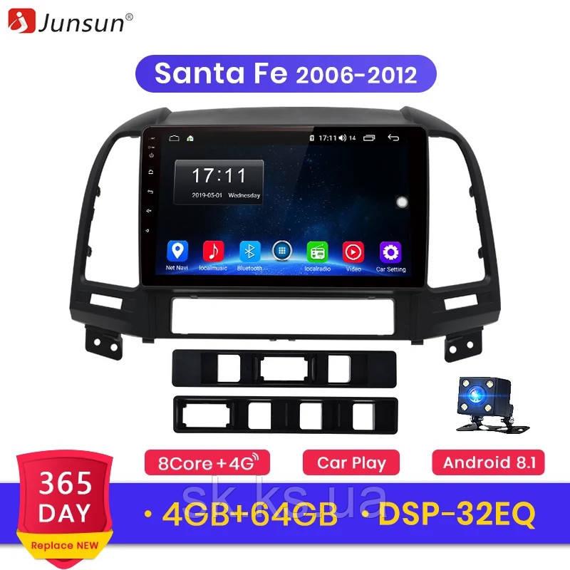 Junsun 4G Android магнітола для huyndai santa fe 2006-2012 full озу 4Gb+ 64gb