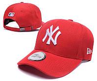 Кепка мужская летняя красная с белым лого NY металлическая застежка (реплика)
