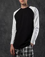 """Лонгслив мужской демисезонный черный с белыми рукавами """"Шазам"""" - размер XL"""