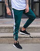 """Стильні чоловічі весняні укорочені штани """"Роккі"""" зелені з білою смугою"""
