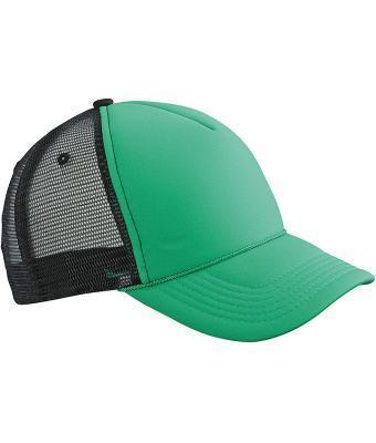 Кепка-тракер мужская летняя зеленая с черной сеточкой