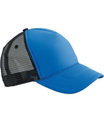 Молодіжна кепка бейсболка на літо яскраво-синя з чорною сіточкою